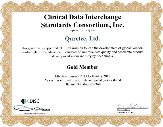 Gold Member of the Clinical Data Interchange Standards Consortium (CDISC)